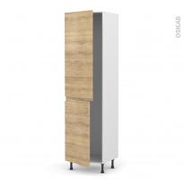 Colonne de cuisine N°2724 - Frigo encastrable 1 porte - IPOMA Chêne naturel - 2 portes - L60 x H217 x P58 cm