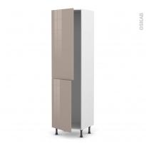 Colonne de cuisine N°2724 - Frigo encastrable 1 porte - KERIA Moka - 2 portes - L60 x H217 x P58 cm