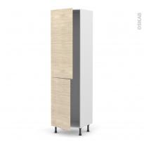 Colonne de cuisine N°2724 - Frigo encastrable 1 porte - STILO Noyer Blanchi - 2 portes - L60 x H217 x P58 cm