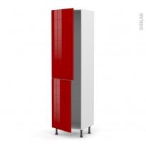 Colonne de cuisine N°2724 - Frigo encastrable 1 porte - STECIA Rouge - 2 portes - L60 x H217 x P58 cm