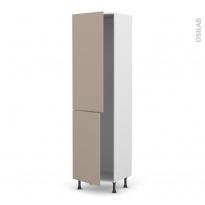 Colonne de cuisine N°2724 - Frigo encastrable 1 porte - GINKO Taupe - 2 portes - L60 x H217 x P58 cm