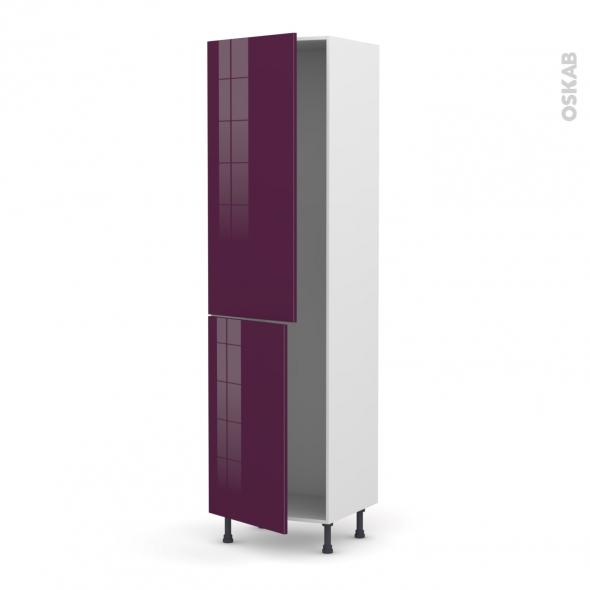 Colonne de cuisine N°2724 - Armoire frigo encastrable - KERIA Aubergine - 2 portes - L60 x H217 x P58 cm