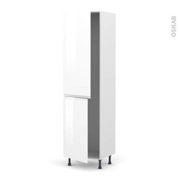 Colonne de cuisine N°2724 - Frigo encastrable 1 porte - IPOMA Blanc brillant - 2 portes - L60 x H217 x P58 cm