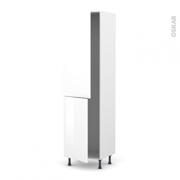 Colonne de cuisine N°2724 - Armoire frigo encastrable - IRIS Blanc - 2 portes - L60 x H217 x P58 cm