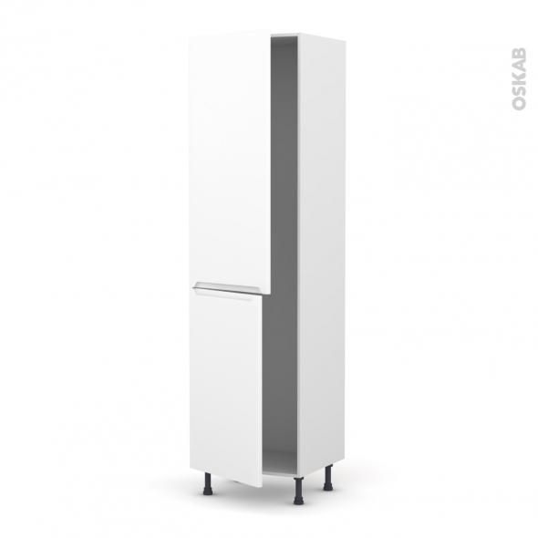 Colonne de cuisine N°2724 - Armoire frigo encastrable - PIMA Blanc - 2 portes - L60 x H217 x P58 cm