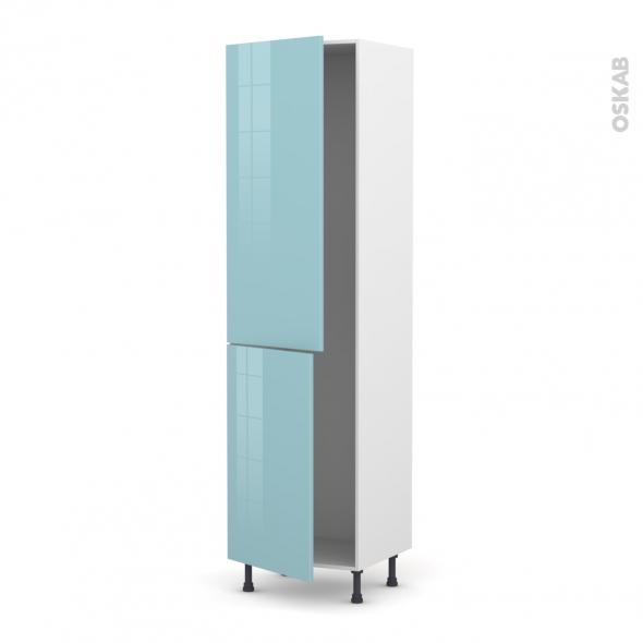 Colonne de cuisine N°2724 - Armoire frigo encastrable - KERIA Bleu - 2 portes - L60 x H217 x P58 cm