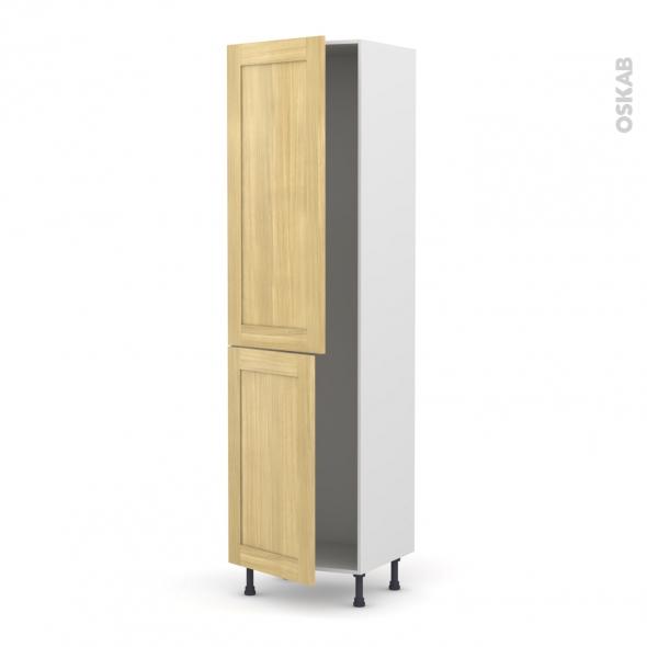 BASILIT Bois Brut - Armoire frigo N°2724  - 2 portes - L60xH217xP58