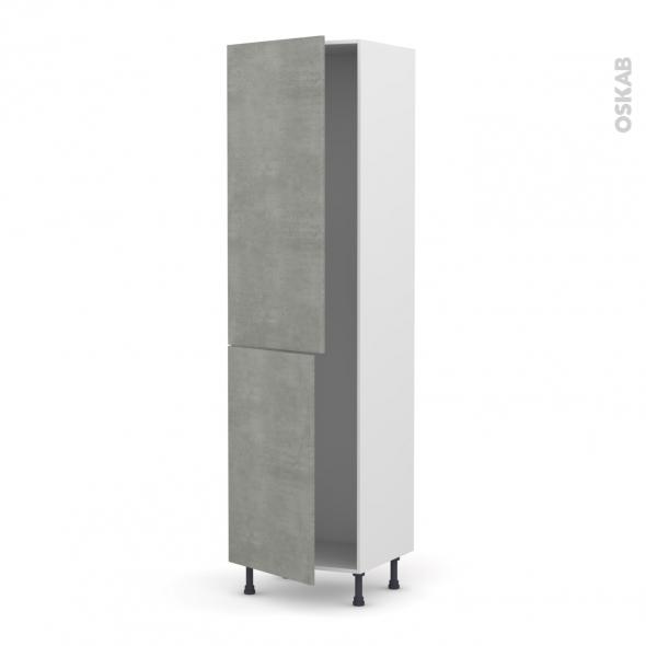 Colonne de cuisine N°2724 - Armoire frigo encastrable - FAKTO Béton - 2 portes - L60 x H217 x P58 cm