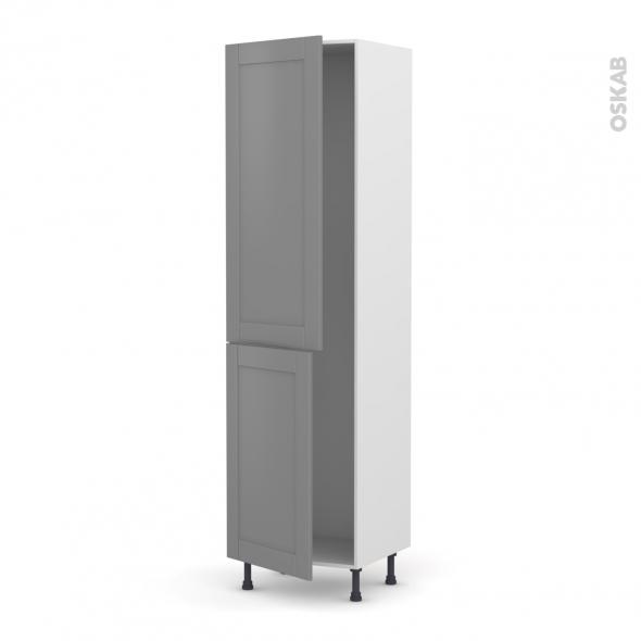 Colonne de cuisine N°2724 - Armoire frigo encastrable - FILIPEN Gris - 2 portes - L60 x H217 x P58 cm