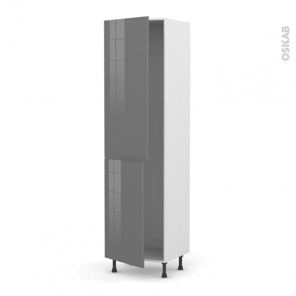 Colonne de cuisine N°2724 - Armoire frigo encastrable - STECIA Gris - 2 portes - L60 x H217 x P58 cm