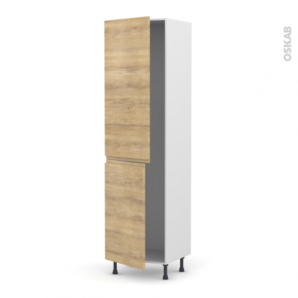 IPOMA Chêne Naturel - Armoire frigo N°2724  - 2 portes - L60xH217xP58