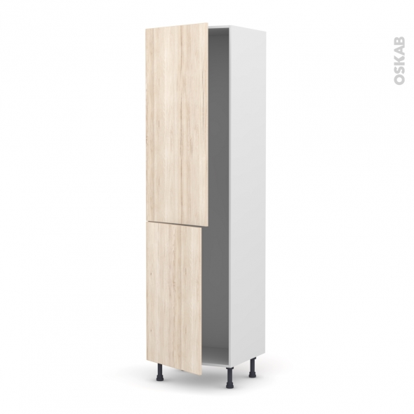 Colonne de cuisine N°2724 - Armoire frigo encastrable - IKORO Chêne clair - 2 portes - L60 x H217 x P58 cm