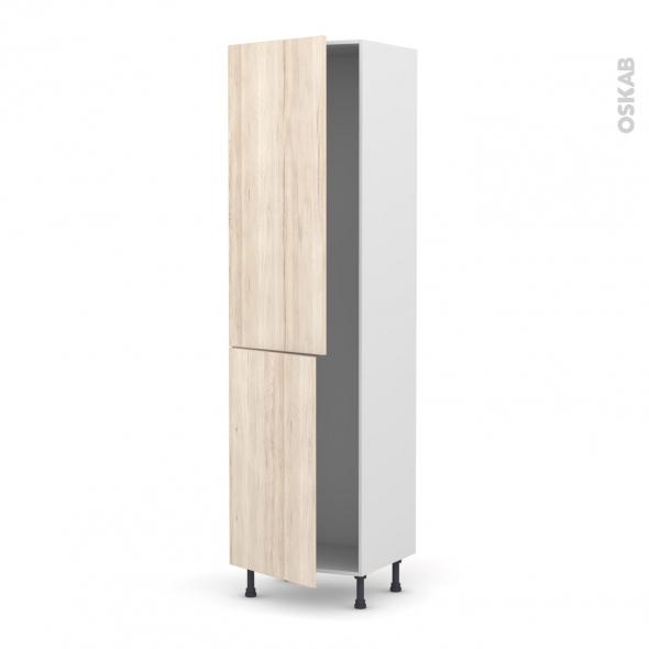 IKORO Chêne clair - Armoire frigo N°2724  - 2 portes - L60xH217xP58
