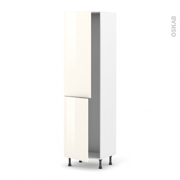 KERIA Ivoire - Armoire frigo N°2724  - 2 portes - L60xH217xP58