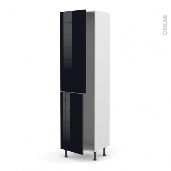 Colonne de cuisine N°2724 - Armoire frigo encastrable - KERIA Noir - 2 portes - L60 x H217 x P58 cm