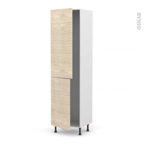 STILO Noyer Blanchi - Armoire frigo N°2724  - 2 portes - L60xH217xP58