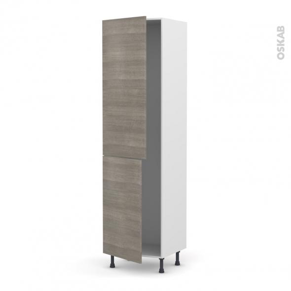 Colonne de cuisine N°2724 - Frigo encastrable 1 porte - STILO Noyer Naturel - 2 portes - L60 x H217 x P58 cm