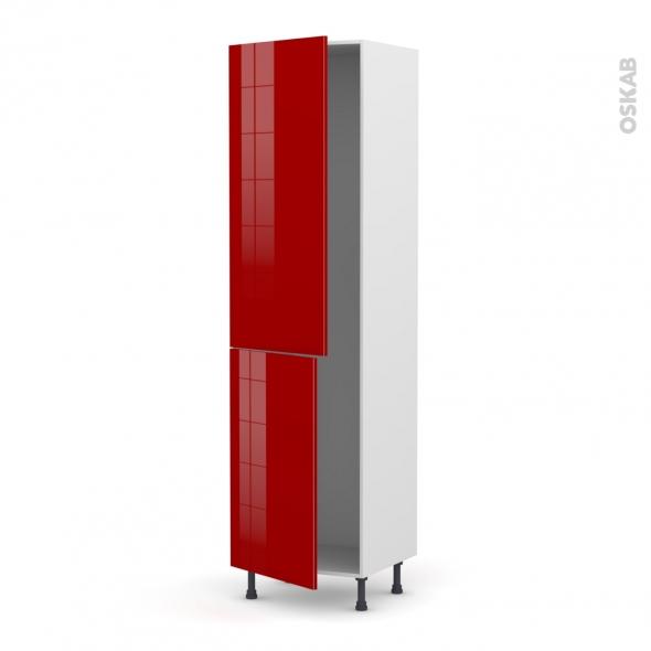Colonne de cuisine N°2724 - Armoire frigo encastrable - STECIA Rouge - 2 portes - L60 x H217 x P58 cm
