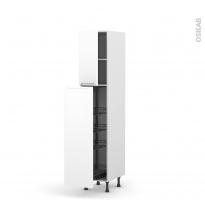 Colonne de cuisine N°26 - Armoire de rangement - PIMA Blanc - 4 paniers plateaux - L40 x H195 x P58 cm