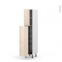 Colonne de cuisine N°26 - Armoire de rangement - IKORO Chêne clair - 4 paniers plateaux - L40 x H195 x P58 cm