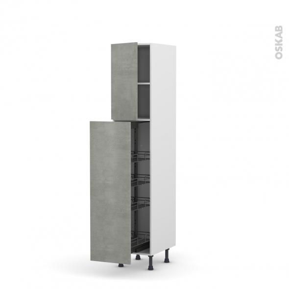 Colonne de cuisine N°26 - Armoire de rangement - FAKTO Béton - 4 paniers plateaux - L40 x H195 x P58 cm
