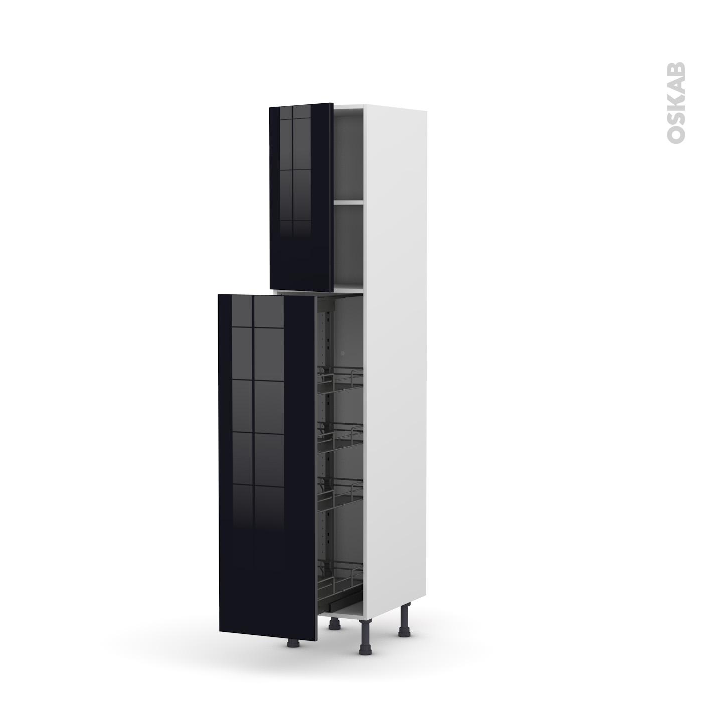 colonne de cuisine n°1926 armoire de rangement keria noir 4 paniers