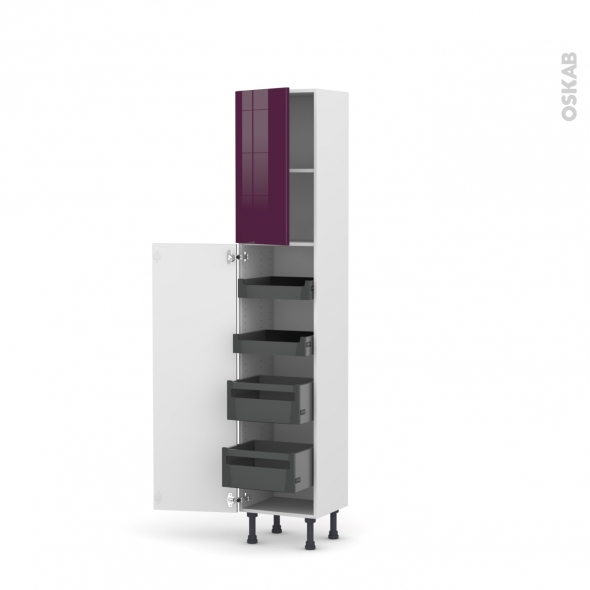 Colonne de cuisine N°1926 - Armoire de rangement - KERIA Aubergine - 4 tiroirs à l'anglaise - L40 x H195 x P37 cm