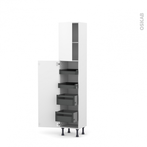 Colonne de cuisine N°1926 - Armoire de rangement - GINKO Blanc - 4 tiroirs à l'anglaise - L40 x H195 x P37 cm