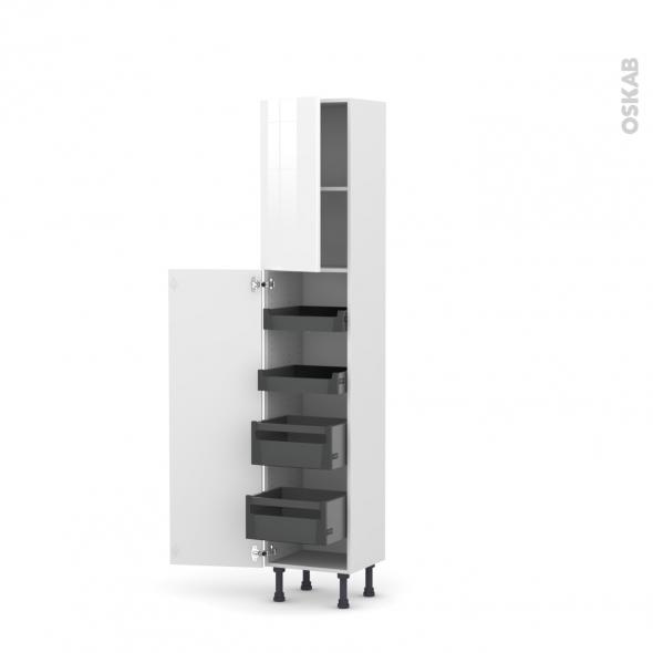 Colonne de cuisine N°1926 - Armoire de rangement - STECIA Blanc - 4 tiroirs à l'anglaise - L40 x H195 x P37 cm