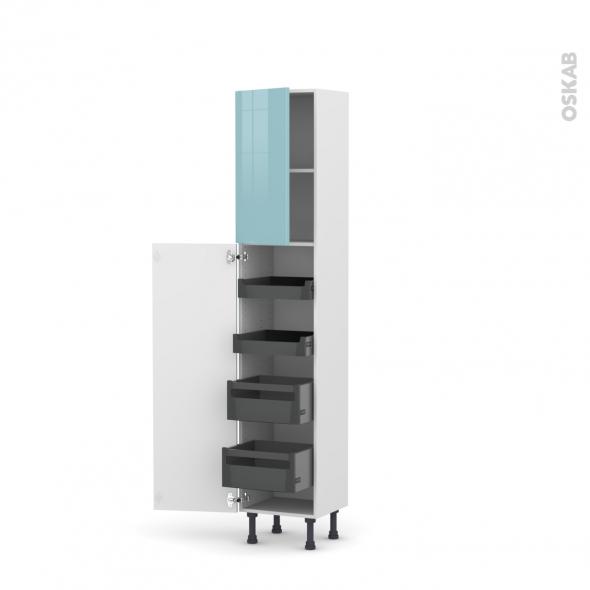 Colonne de cuisine N°1926 - Armoire de rangement - KERIA Bleu - 4 tiroirs à l'anglaise - L40 x H195 x P37 cm