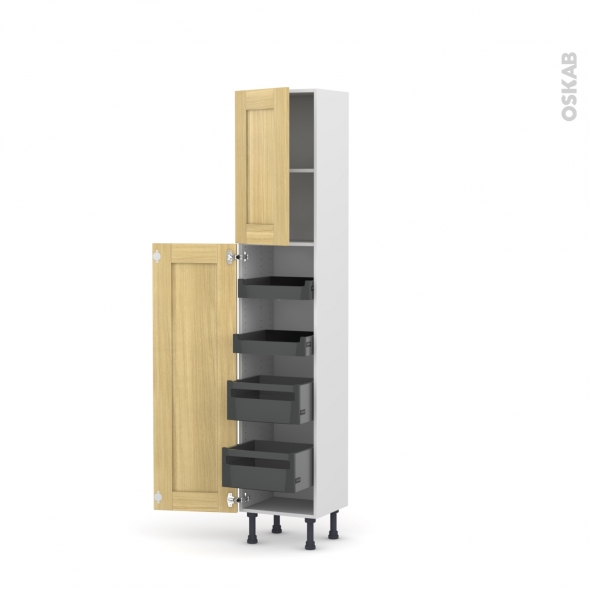 BASILIT Bois brut - Armoire rangement N°1926 - 4 tiroirs à l'anglaise - L40xH195xP37