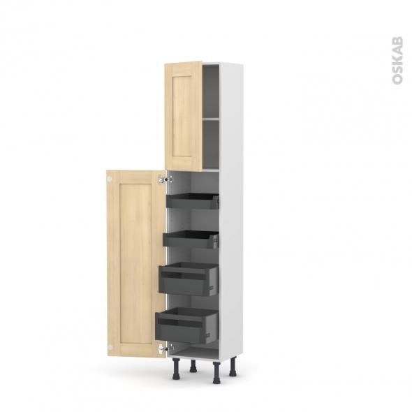 BETULA Bouleau - Armoire rangement N°1926 - 4 tiroirs à l'anglaise - L40xH195xP37