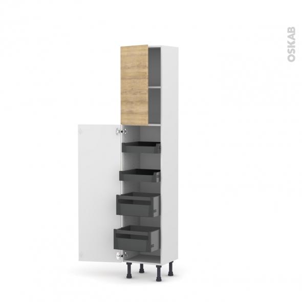 Colonne de cuisine N°1926 - Armoire de rangement - HOSTA Chêne naturel - 4 tiroirs à l'anglaise - L40 x H195 x P37 cm