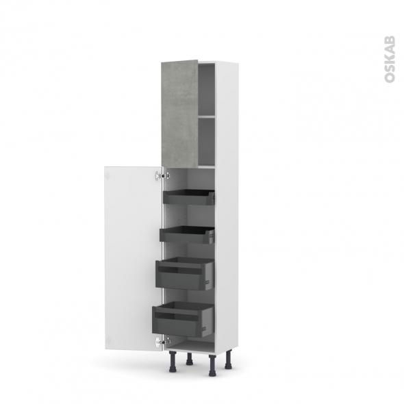 Colonne de cuisine N°1926 - Armoire de rangement - FAKTO Béton - 4 tiroirs à l'anglaise - L40 x H195 x P37 cm