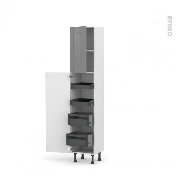 Colonne de cuisine N°1926 - Armoire de rangement - FILIPEN Gris - 4 tiroirs à l'anglaise - L40 x H195 x P37 cm