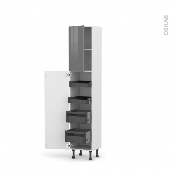 Colonne de cuisine N°1926 - Armoire de rangement - STECIA Gris - 4 tiroirs à l'anglaise - L40 x H195 x P37 cm