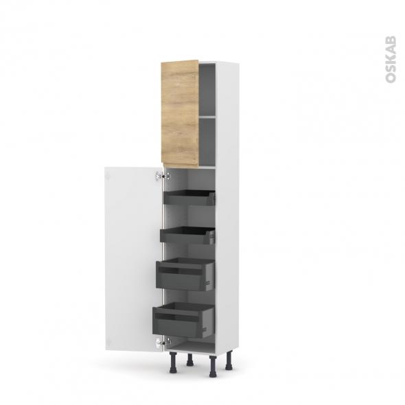Colonne de cuisine N°2127 - Armoire de rangement - IPOMA Chêne naturel - 4 tiroirs à l'anglaise - L60 x H195 x P37 cm