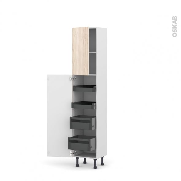 Colonne de cuisine N°1926 - Armoire de rangement - IKORO Chêne clair - 4 tiroirs à l'anglaise - L40 x H195 x P37 cm