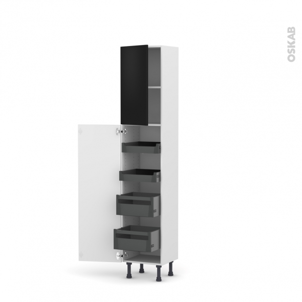 Colonne de cuisine N°1926 - Armoire de rangement - GINKO Noir - 4 tiroirs à l'anglaise - L40 x H195 x P37 cm