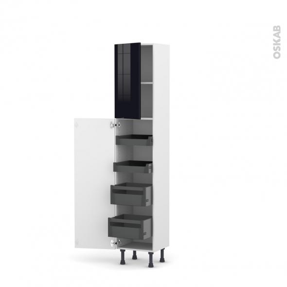Colonne de cuisine N°1926 - Armoire de rangement - KERIA Noir - 4 tiroirs à l'anglaise - L40 x H195 x P37 cm