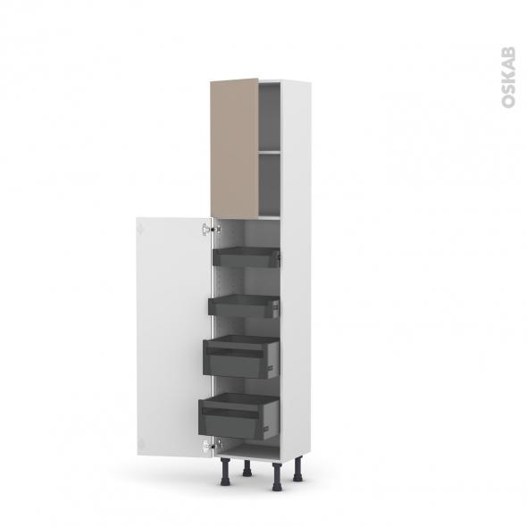 Colonne de cuisine N°1926 - Armoire de rangement - GINKO Taupe - 4 tiroirs à l'anglaise - L40 x H195 x P37 cm
