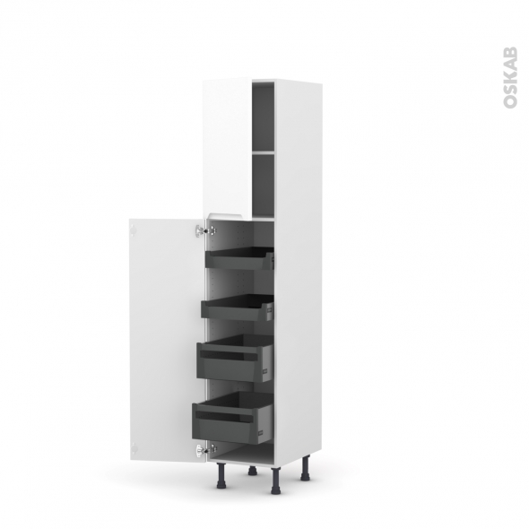 Colonne de cuisine N°1926 - Armoire de rangement - PIMA Blanc - 4 tiroirs à l'anglaise - L40 x H195 x P58 cm