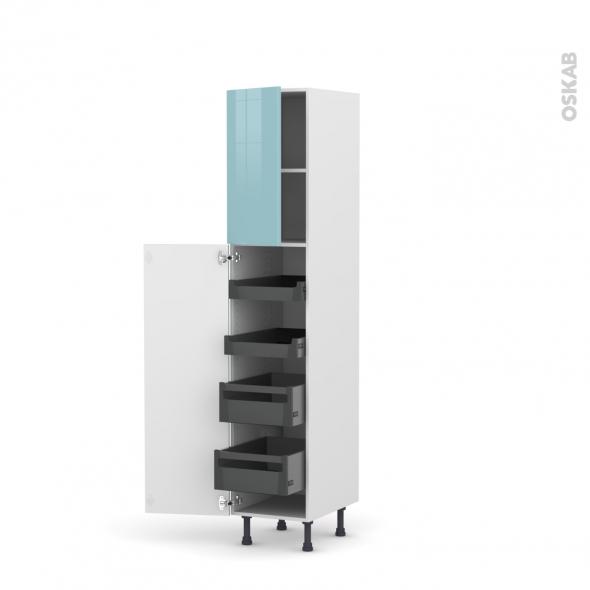 Colonne de cuisine N°1926 - Armoire de rangement - KERIA Bleu - 4 tiroirs à l'anglaise - L40 x H195 x P58 cm