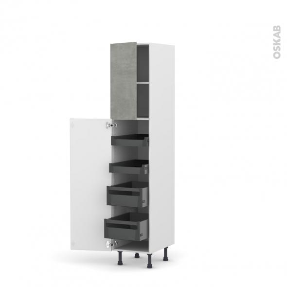 Colonne de cuisine N°1926 - Armoire de rangement - FAKTO Béton - 4 tiroirs à l'anglaise - L40 x H195 x P58 cm