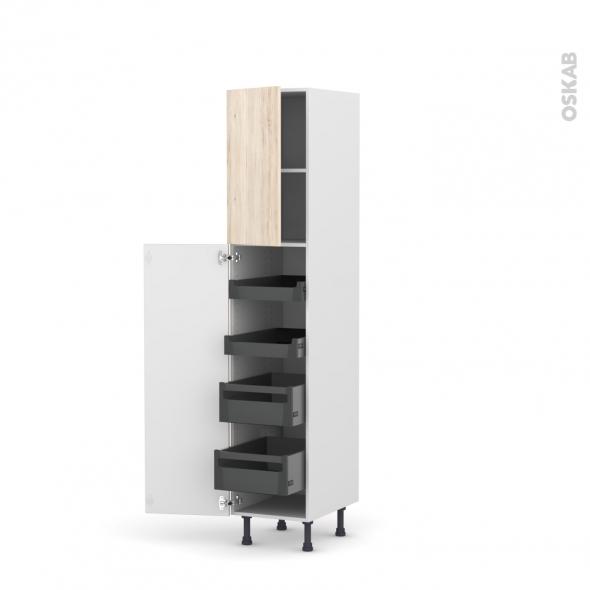 Colonne de cuisine N°1926 - Armoire de rangement - IKORO Chêne clair - 4 tiroirs à l'anglaise - L40 x H195 x P58 cm