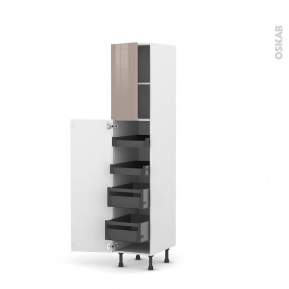 Colonne de cuisine N°1926 - Armoire de rangement - KERIA Moka - 4 tiroirs à l'anglaise - L40 x H195 x P58 cm