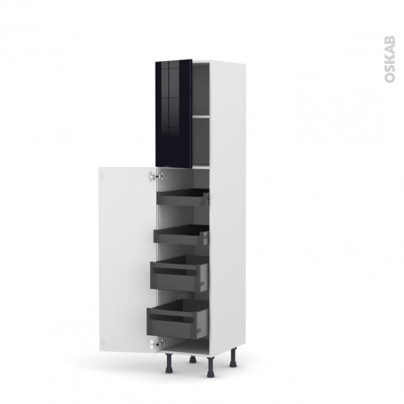 KERIA Noir - Armoire rangement N°1926 - 4 tiroirs à l'anglaise- L40xH195xP58