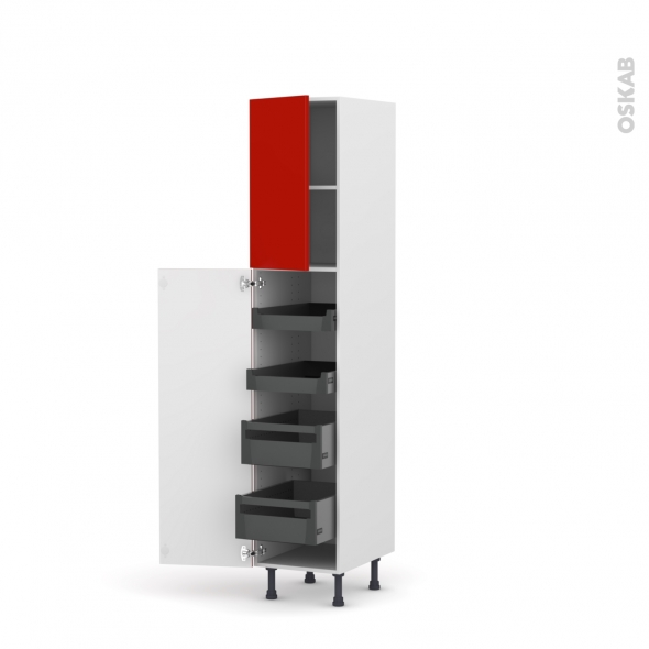 GINKO Rouge - Armoire rangement N°1926 - 4 tiroirs à l'anglaise- L40xH195xP58
