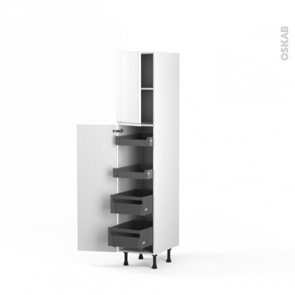 Colonne de cuisine N°1926 - Armoire de rangement - IPOMA Blanc brillant - 4 tiroirs à l'anglaise - L40 x H195 x P58 cm