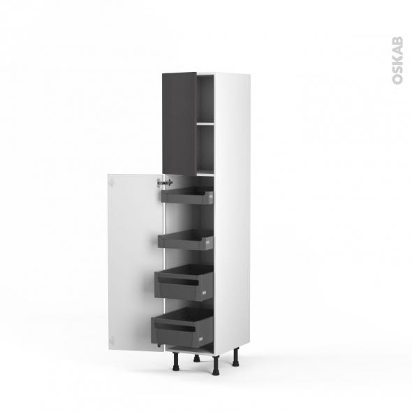 Colonne de cuisine N°1926 - Armoire de rangement - GINKO Gris - 4 tiroirs à l'anglaise - L40 x H195 x P58 cm